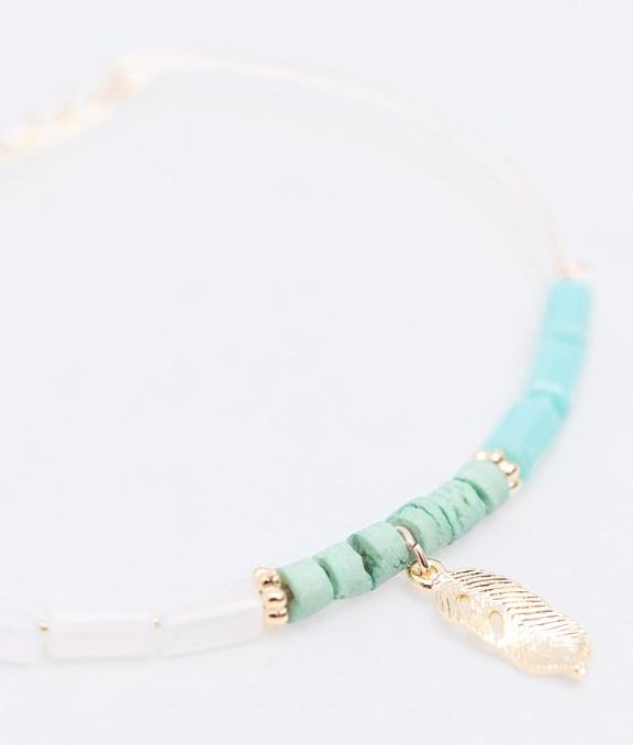 韓國手工小碎珠羽毛造型手鍊