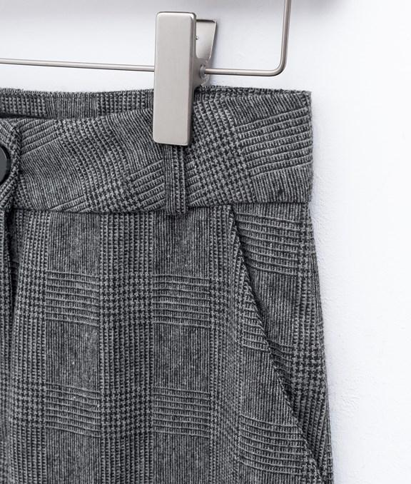 知性感格紋反摺寬褲