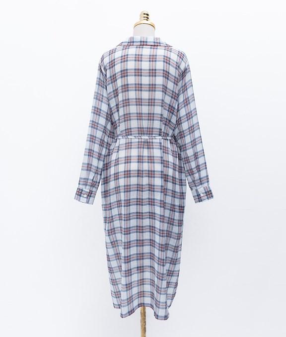襯衫式格紋綁帶長袖洋裝