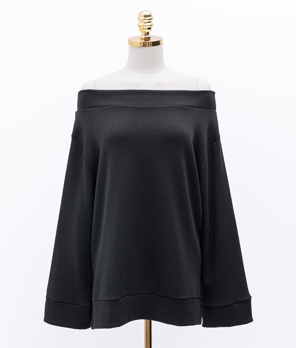 MIT一字領設計棉質長袖上衣
