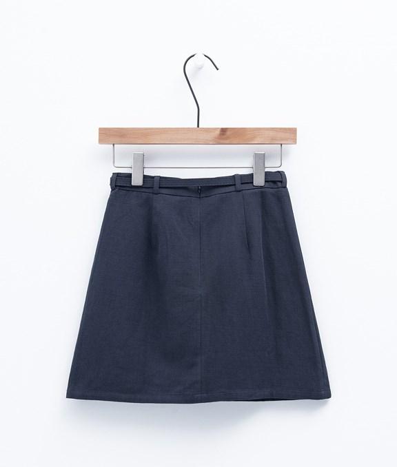 皮帶圓環造型斜紋A字短裙