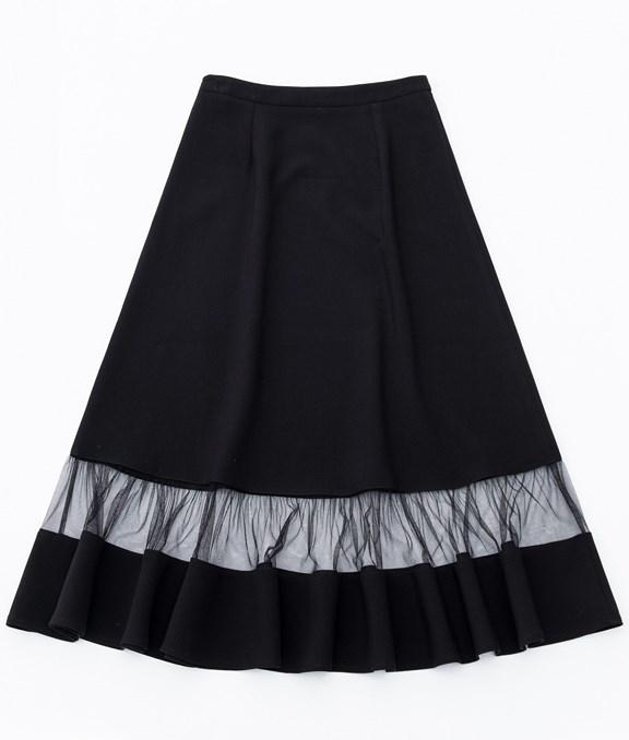 法式網紗拼接荷葉裙