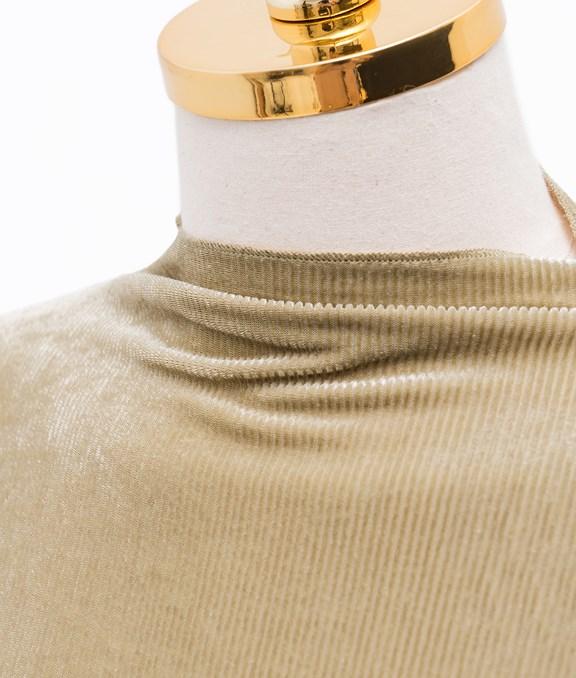 光澤感雙層喇叭荷葉袖上衣