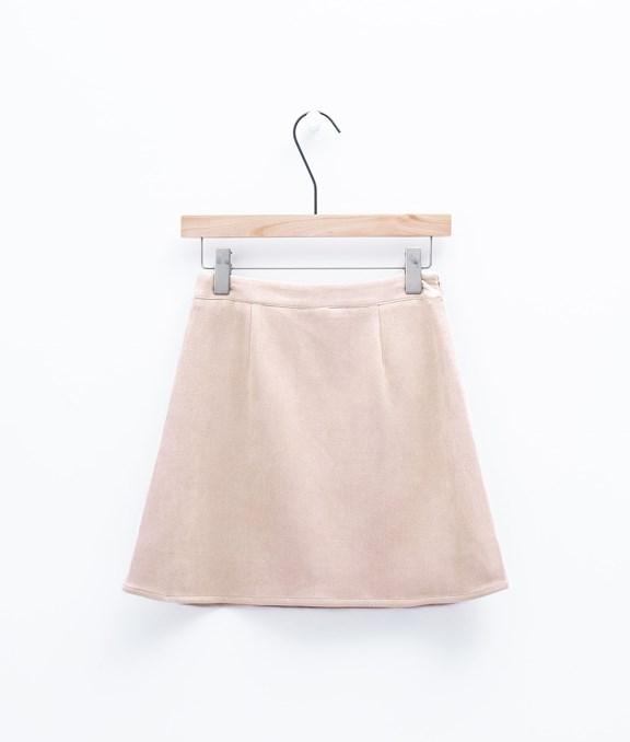 甜美女孩麂皮A字短裙