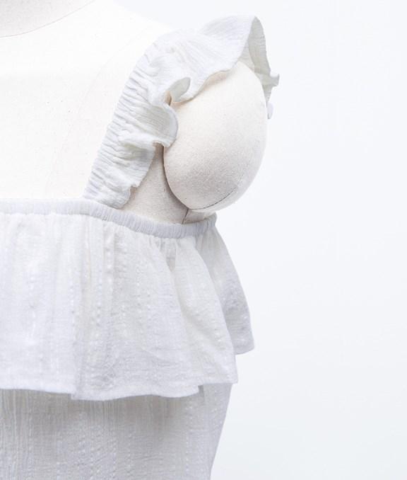 甜妞荷葉肩帶棉麻無袖上衣