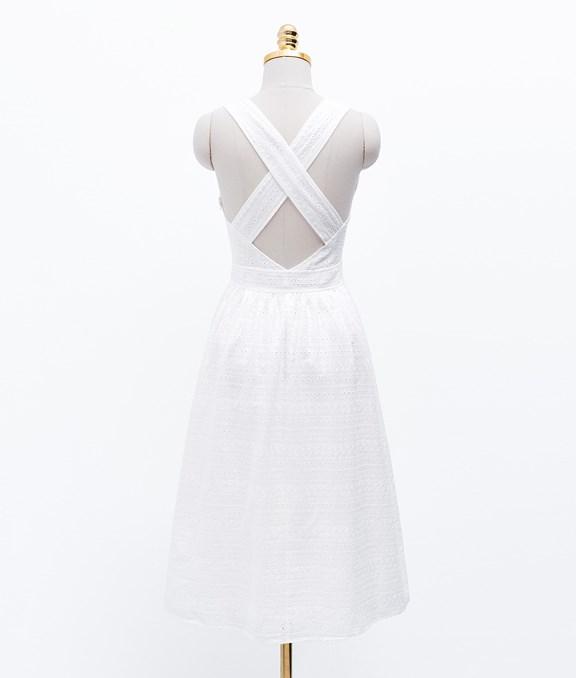 清新女孩後交叉簍空蕾絲洋裝