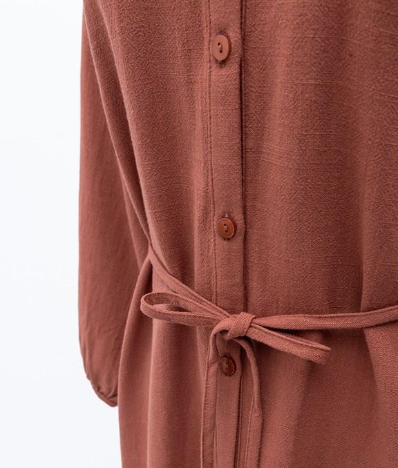 無領開扣襯衫式綁帶長袖洋裝