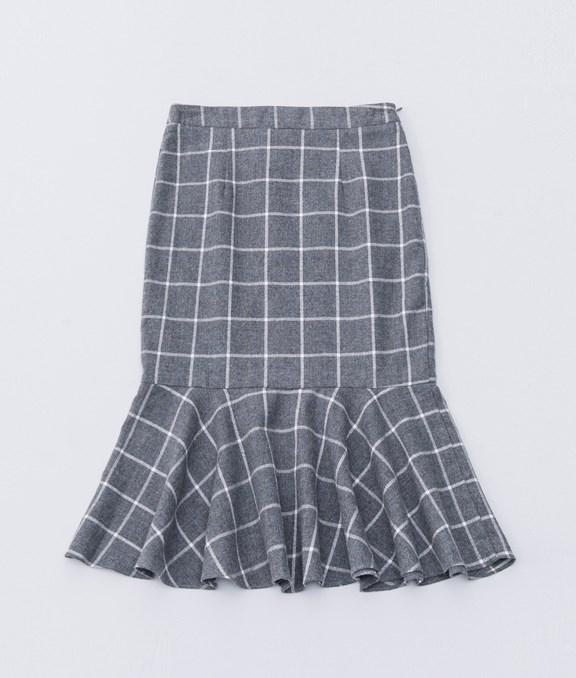 學院格紋魚尾窄裙