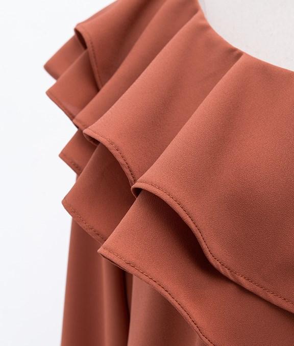 雙層荷葉設計雪紡長袖素面上衣
