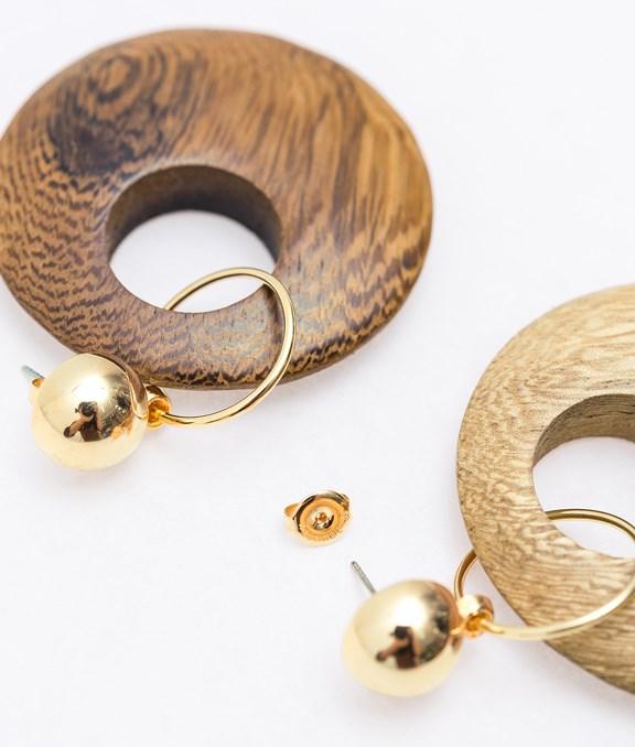 韓國木質雙色圓耳環