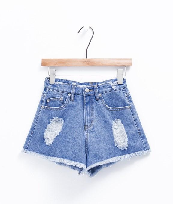 韓系破損高腰牛仔短褲