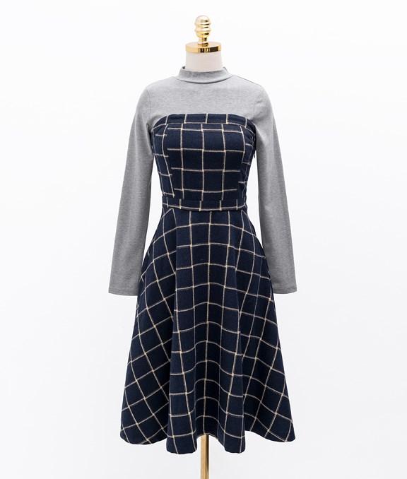 復古兩件式小高領格紋洋裝