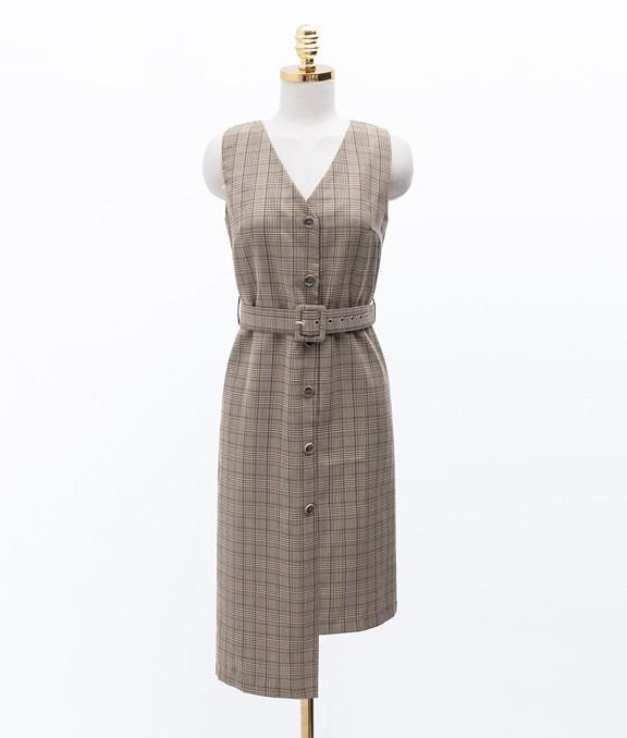 復古格紋裙擺不規則背心洋裝
