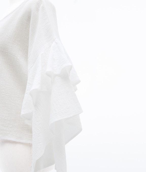 荷葉配袖棉麻上衣