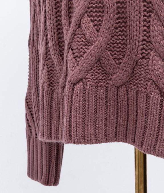 微性感麻花設計長袖毛衣