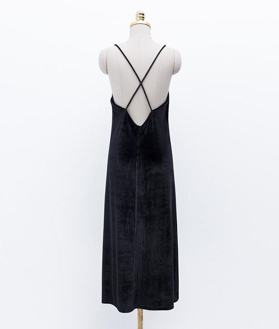 背後交叉設計絨布細肩長洋裝