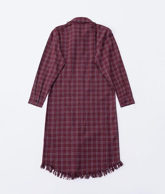 韓系抽鬚隨興格紋長版襯衫