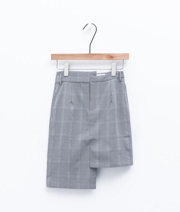 不規則格紋窄版短裙